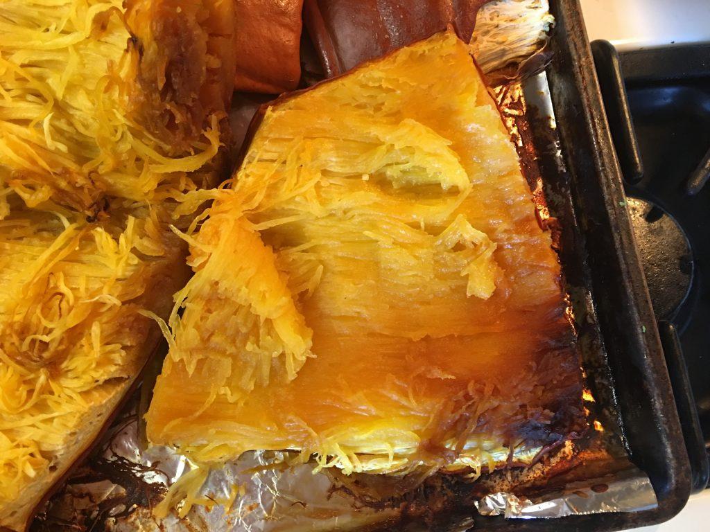 Cooked pumpkin is a light golden brown.