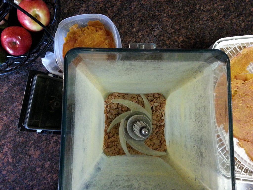 Pumpkin powder in a blender